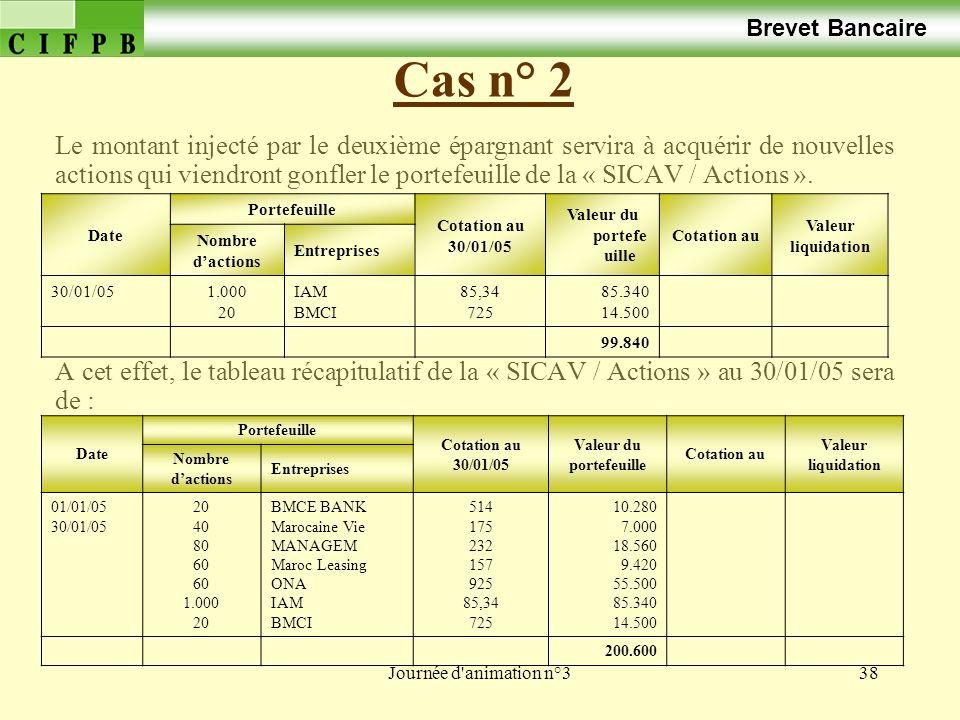 Journée d animation n°338 Cas n° 2 Brevet Bancaire Le montant injecté par le deuxième épargnant servira à acquérir de nouvelles actions qui viendront gonfler le portefeuille de la « SICAV / Actions ».