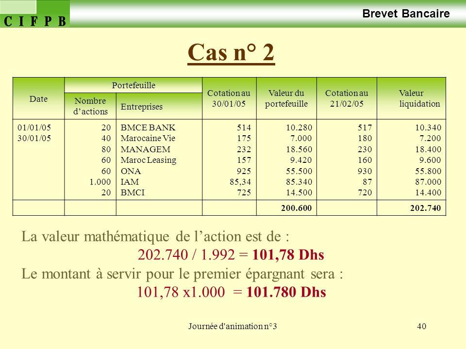 Journée d animation n°340 Cas n° 2 Brevet Bancaire Date Portefeuille Cotation au 30/01/05 Valeur du portefeuille Cotation au 21/02/05 Valeur liquidation Nombre dactions Entreprises 01/01/05 30/01/05 20 40 80 60 1.000 20 BMCE BANK Marocaine Vie MANAGEM Maroc Leasing ONA IAM BMCI 514 175 232 157 925 85,34 725 10.280 7.000 18.560 9.420 55.500 85.340 14.500 517 180 230 160 930 87 720 10.340 7.200 18.400 9.600 55.800 87.000 14.400 200.600202.740 La valeur mathématique de laction est de : 202.740 / 1.992 = 101,78 Dhs Le montant à servir pour le premier épargnant sera : 101,78 x1.000 = 101.780 Dhs