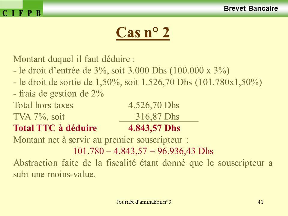 Journée d animation n°341 Cas n° 2 Brevet Bancaire Montant duquel il faut déduire : - le droit dentrée de 3%, soit 3.000 Dhs (100.000 x 3%) - le droit de sortie de 1,50%, soit 1.526,70 Dhs (101.780x1,50%) - frais de gestion de 2% Total hors taxes4.526,70 Dhs TVA 7%, soit 316,87 Dhs Total TTC à déduire4.843,57 Dhs Montant net à servir au premier souscripteur : 101.780 – 4.843,57 = 96.936,43 Dhs Abstraction faite de la fiscalité étant donné que le souscripteur a subi une moins-value.