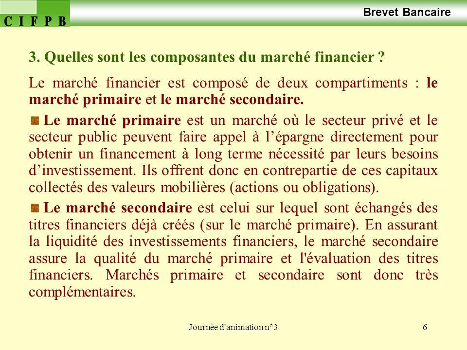 Journée d animation n°37 Brevet Bancaire 4.Quels sont les intervenants du marché financier .