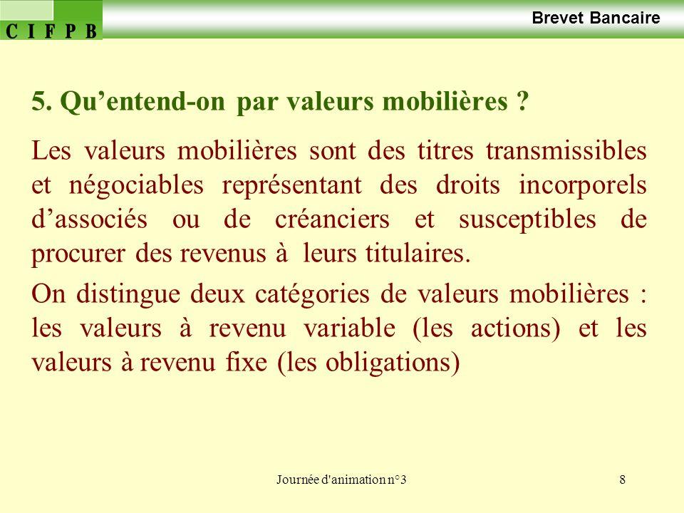 Journée d animation n°319 Brevet Bancaire Laction est une part dassocié dune société de capitaux.