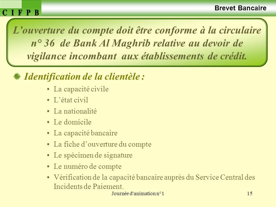 Journée d'animation n°115 Brevet Bancaire Identification de la clientèle : La capacité civile Létat civil La nationalité Le domicile La capacité banca