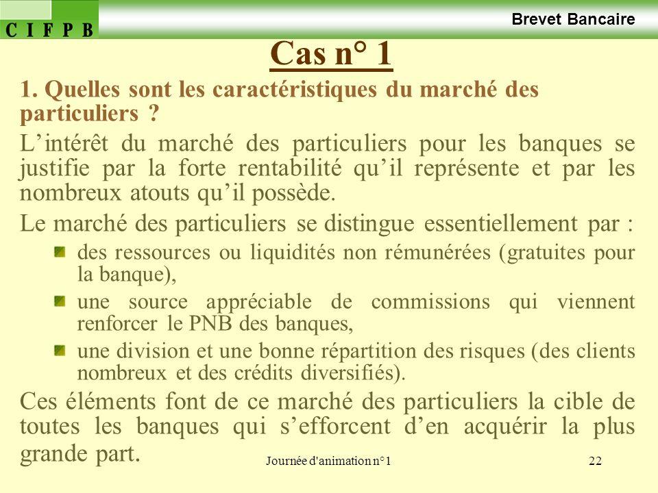 Journée d'animation n°122 Cas n° 1 Brevet Bancaire 1. Quelles sont les caractéristiques du marché des particuliers ? Lintérêt du marché des particulie