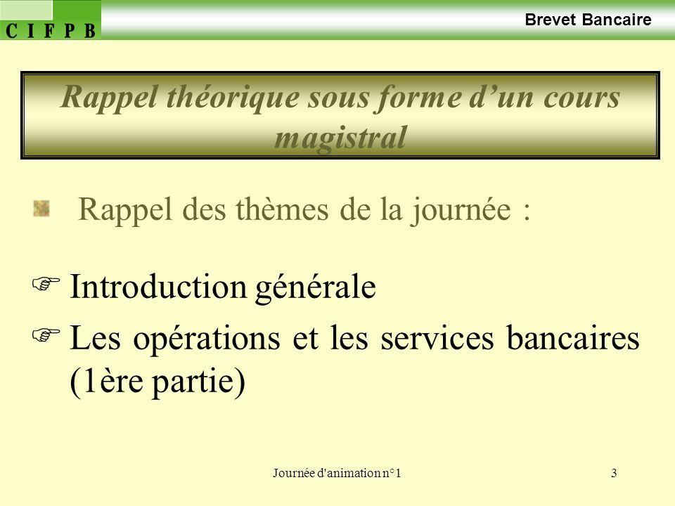 Journée d'animation n°13 Brevet Bancaire Rappel des thèmes de la journée : Introduction générale Les opérations et les services bancaires (1ère partie