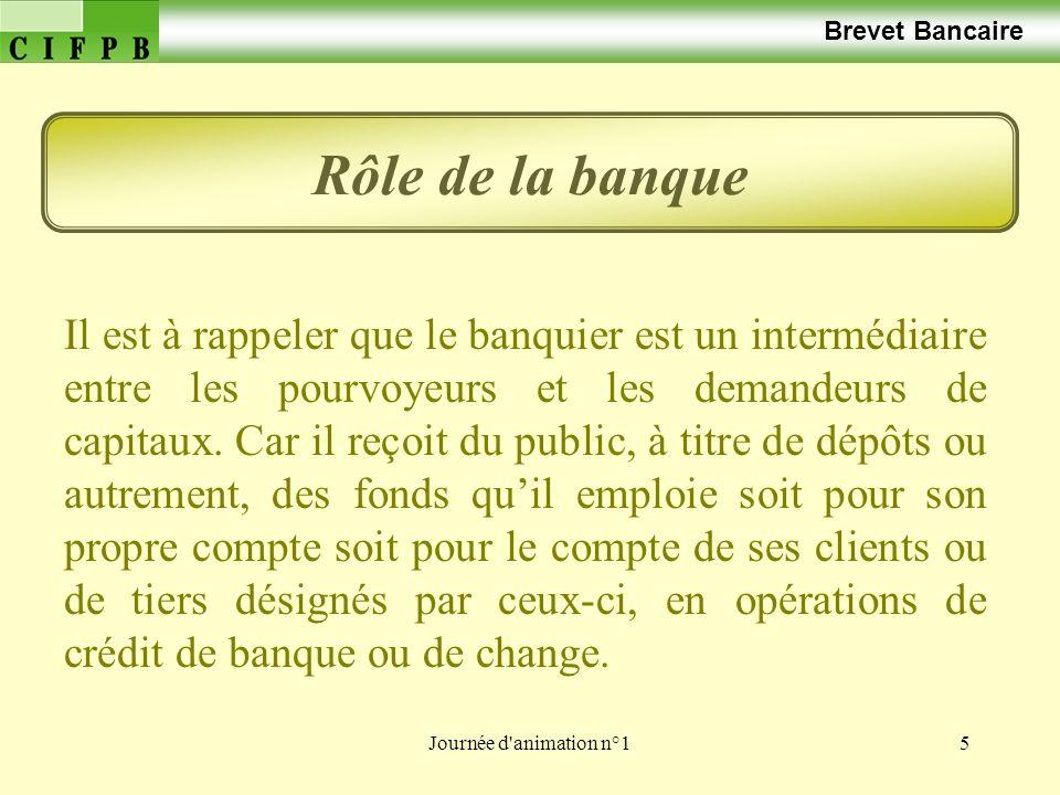 Journée d'animation n°15 Brevet Bancaire Rôle de la banque Il est à rappeler que le banquier est un intermédiaire entre les pourvoyeurs et les demande