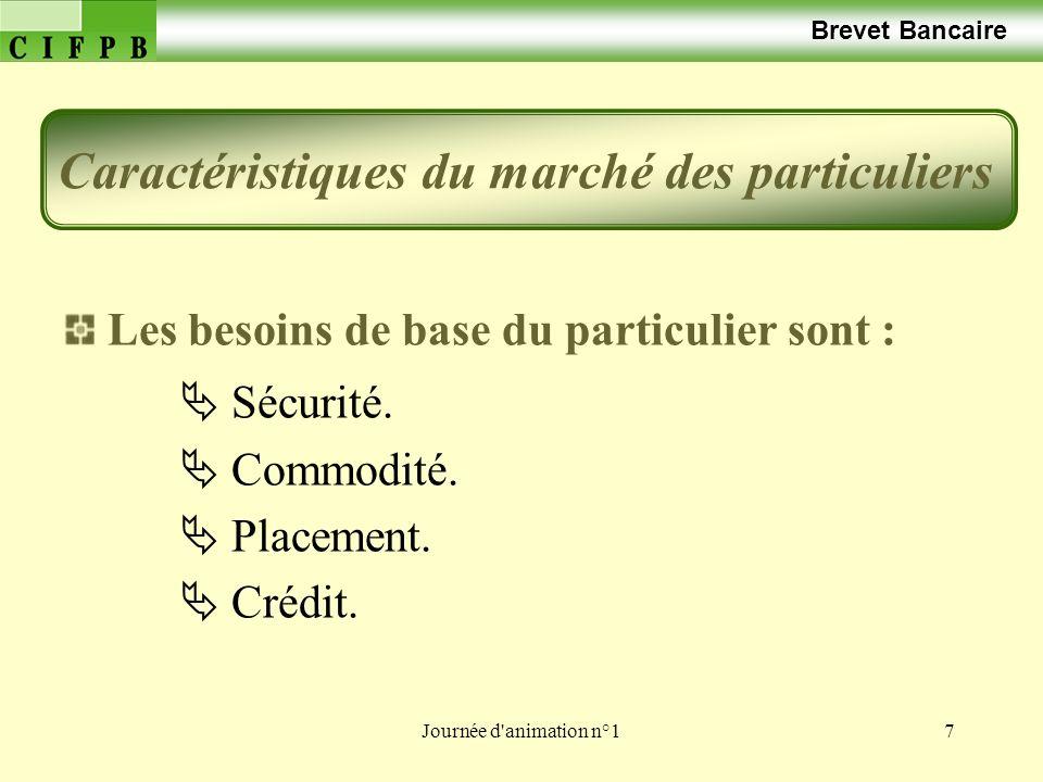 Journée d'animation n°17 Brevet Bancaire Les besoins de base du particulier sont : Sécurité. Commodité. Placement. Crédit. Caractéristiques du marché