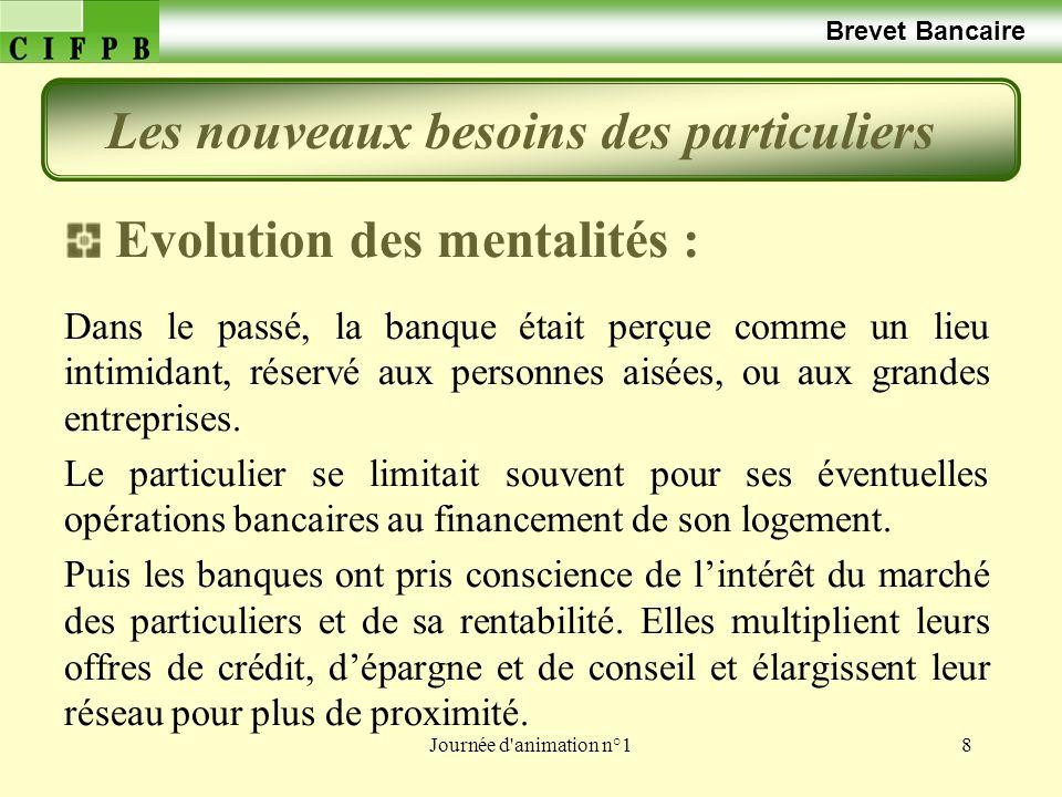 Journée d'animation n°18 Brevet Bancaire Evolution des mentalités : Dans le passé, la banque était perçue comme un lieu intimidant, réservé aux person