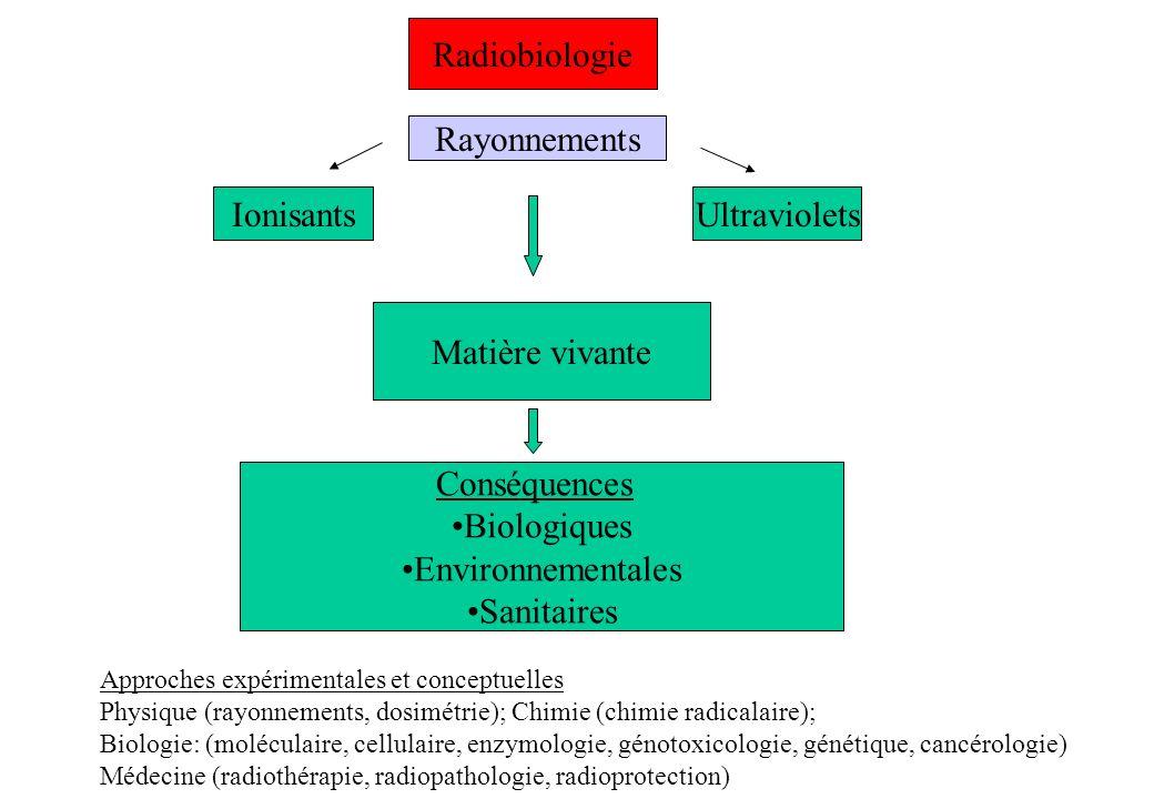 Matière vivante Conséquences Biologiques Environnementales Sanitaires Radiobiologie Rayonnements IonisantsUltraviolets Approches expérimentales et con