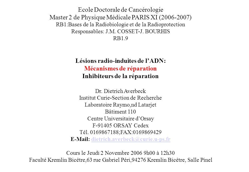 Ecole Doctorale de Cancérologie Master 2 de Physique Médicale PARIS XI (2006-2007) RB1:Bases de la Radiobiologie et de la Radioprotection Responsables