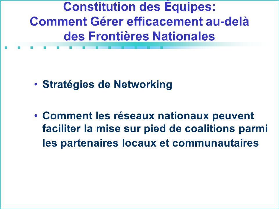 Constitution des É quipes: Comment Gérer efficacement au-delà des Frontières Nationales Stratégies de Networking Comment les réseaux nationaux peuvent faciliter la mise sur pied de coalitions parmi les partenaires locaux et communautaires