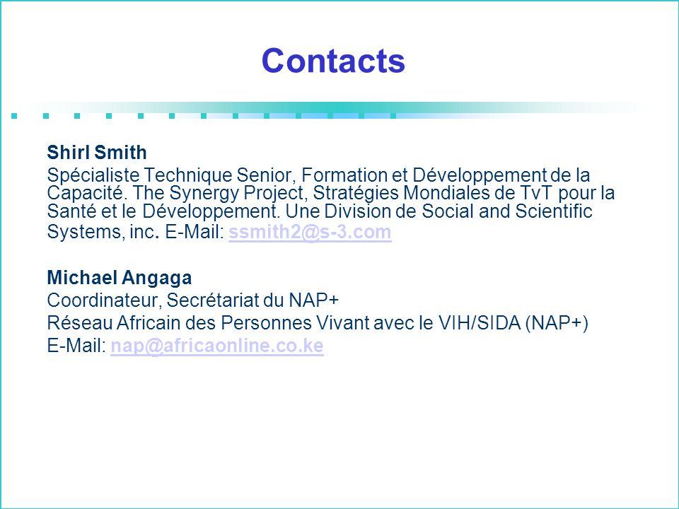 Contacts Shirl Smith Spécialiste Technique Senior, Formation et Développement de la Capacité. The Synergy Project, Stratégies Mondiales de TvT pour la