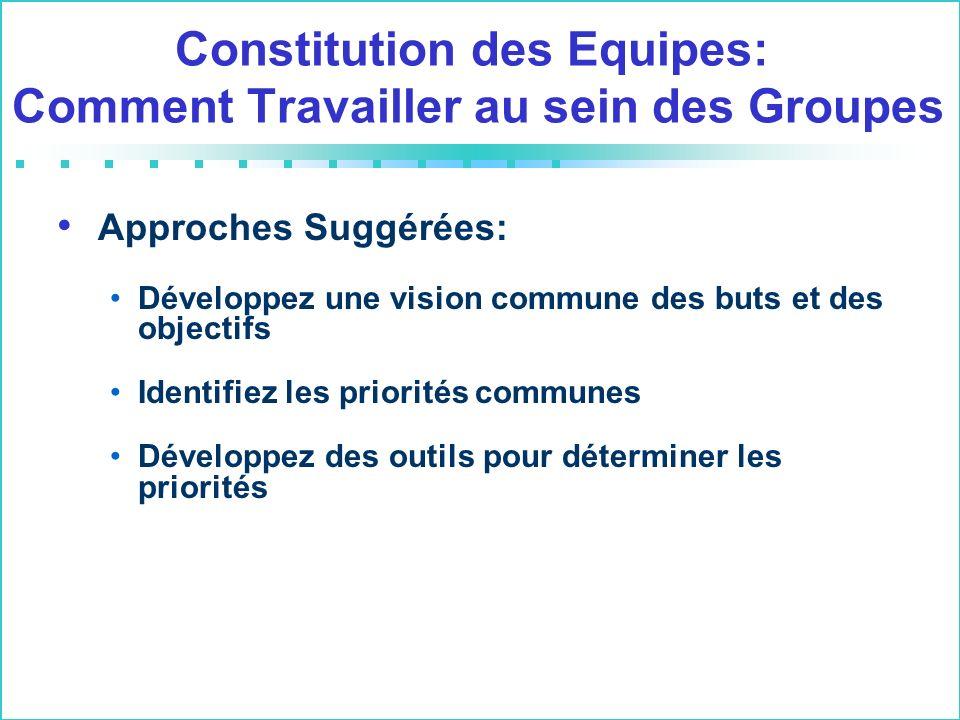 Constitution des Equipes: Comment Travailler au sein des Groupes Approches Suggérées: Développez une vision commune des buts et des objectifs Identifiez les priorités communes Développez des outils pour déterminer les priorités