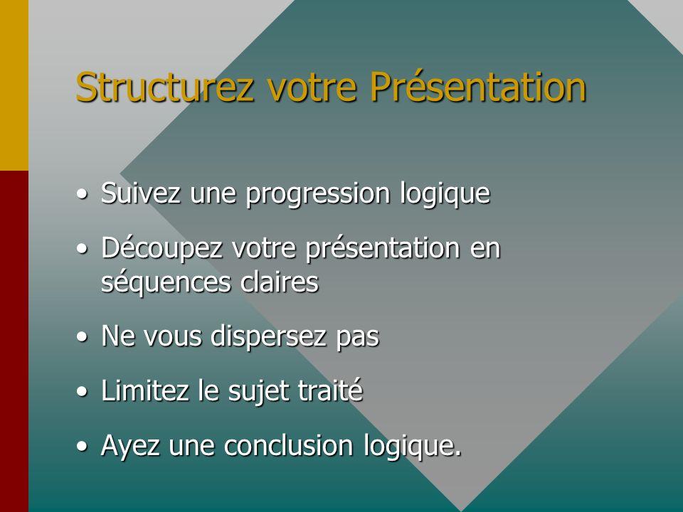 Structurez votre Présentation Suivez une progression logiqueSuivez une progression logique Découpez votre présentation en séquences clairesDécoupez vo