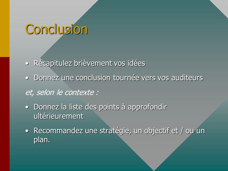 Conclusion Récapitulez brièvement vos idéesRécapitulez brièvement vos idées Donnez une conclusion tournée vers vos auditeursDonnez une conclusion tour