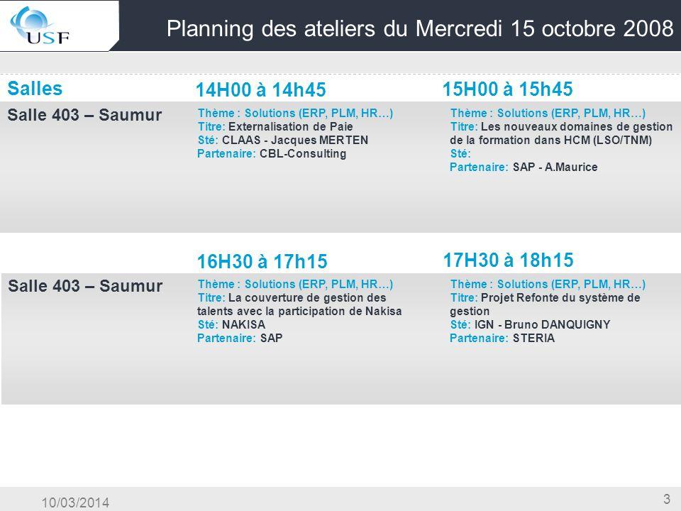 10/03/2014 3 Planning des ateliers du Mercredi 15 octobre 2008 Salles 14H00 à 14h45 15H00 à 15h45 Salle 403 – Saumur OG & Conduite du Changement & Cen