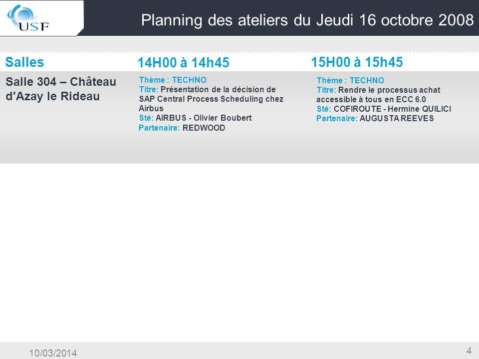 10/03/2014 4 Planning des ateliers du Jeudi 16 octobre 2008 Salles Salle 304 – Château d'Azay le Rideau Thème : TECHNO Titre: Présentation de la décis