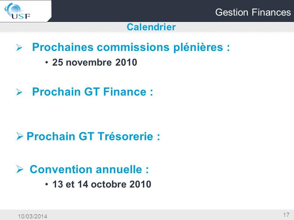 10/03/2014 17 Gestion Finances Prochaines commissions plénières : 25 novembre 2010 Prochain GT Finance : Prochain GT Trésorerie : Convention annuelle : 13 et 14 octobre 2010 Calendrier
