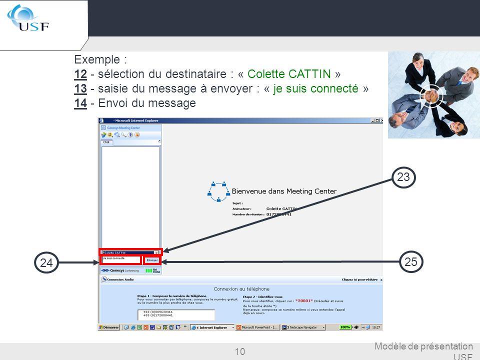 10 Modèle de présentation USF Exemple : 12 - sélection du destinataire : « Colette CATTIN » 13 - saisie du message à envoyer : « je suis connecté » 14