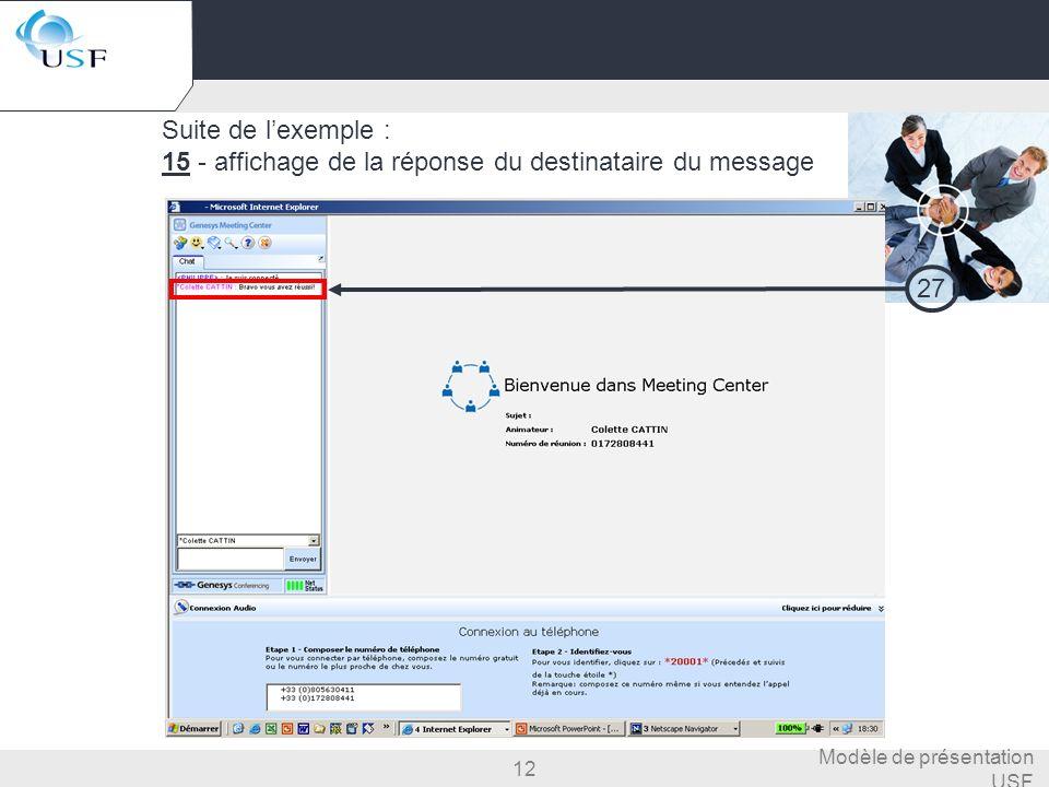 12 Modèle de présentation USF Suite de lexemple : 15 - affichage de la réponse du destinataire du message 27