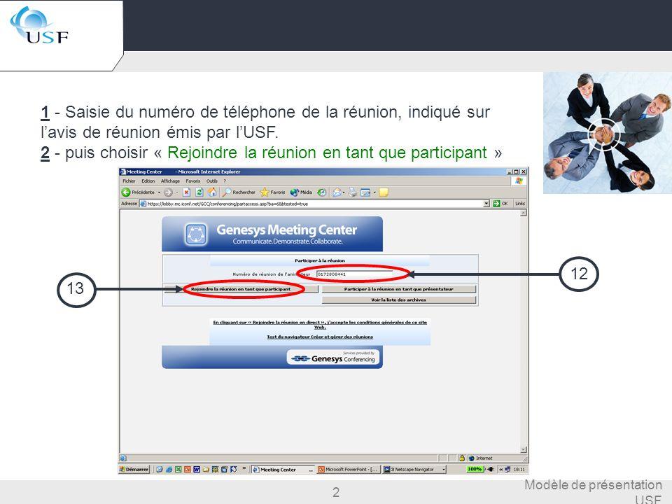 2 Modèle de présentation USF Menu accueil participant 1 - Saisie du numéro de téléphone de la réunion, indiqué sur lavis de réunion émis par lUSF. 2 -