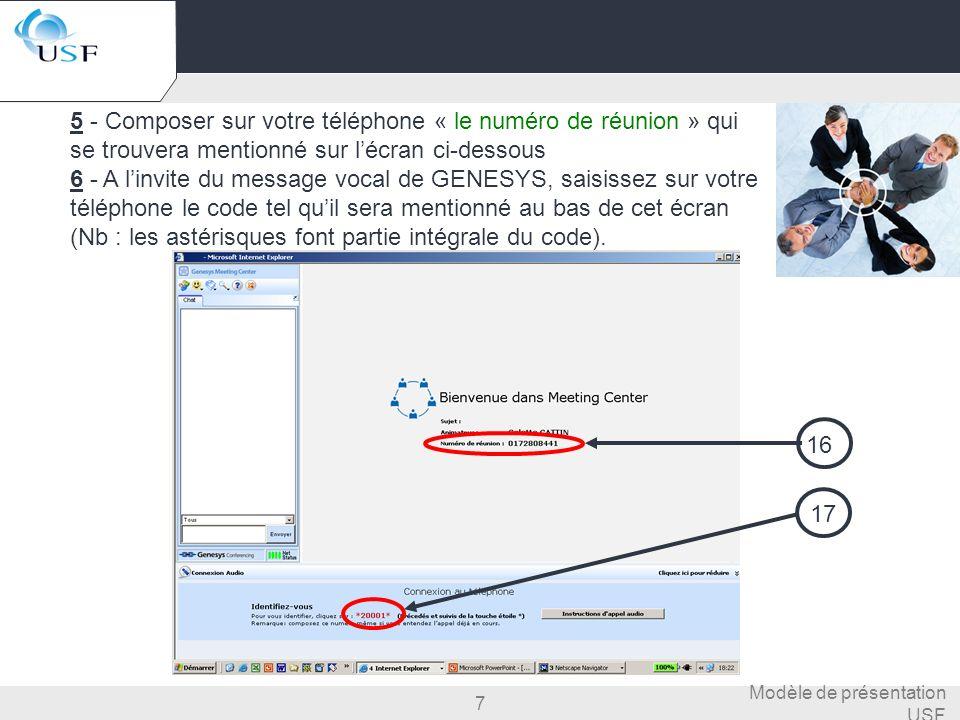 7 Modèle de présentation USF 5 - Composer sur votre téléphone « le numéro de réunion » qui se trouvera mentionné sur lécran ci-dessous 6 - A linvite d