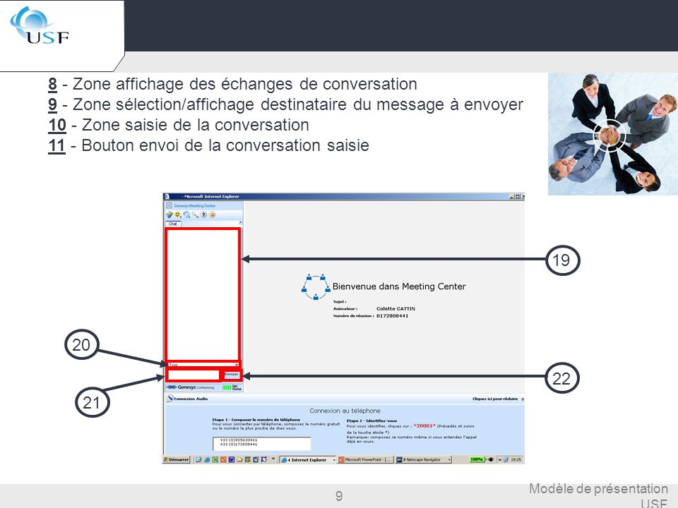 9 Modèle de présentation USF 8 - Zone affichage des échanges de conversation 9 - Zone sélection/affichage destinataire du message à envoyer 10 - Zone