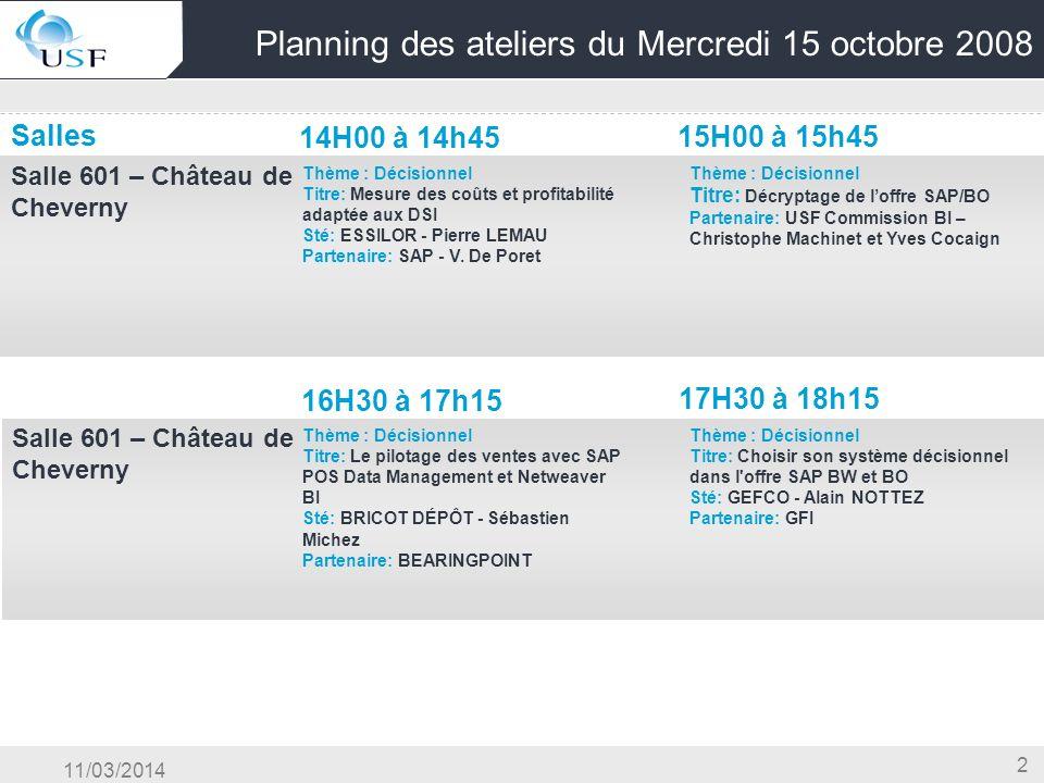 11/03/2014 2 Planning des ateliers du Mercredi 15 octobre 2008 Salles 14H00 à 14h45 15H00 à 15h45 Salle 601 – Château de Cheverny OG & Conduite du Cha