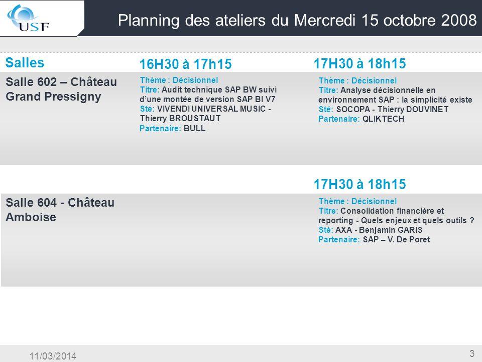 11/03/2014 3 Planning des ateliers du Mercredi 15 octobre 2008 Salles 16H30 à 17h15 17H30 à 18h15 Salle 602 – Château Grand Pressigny Thème : Décision