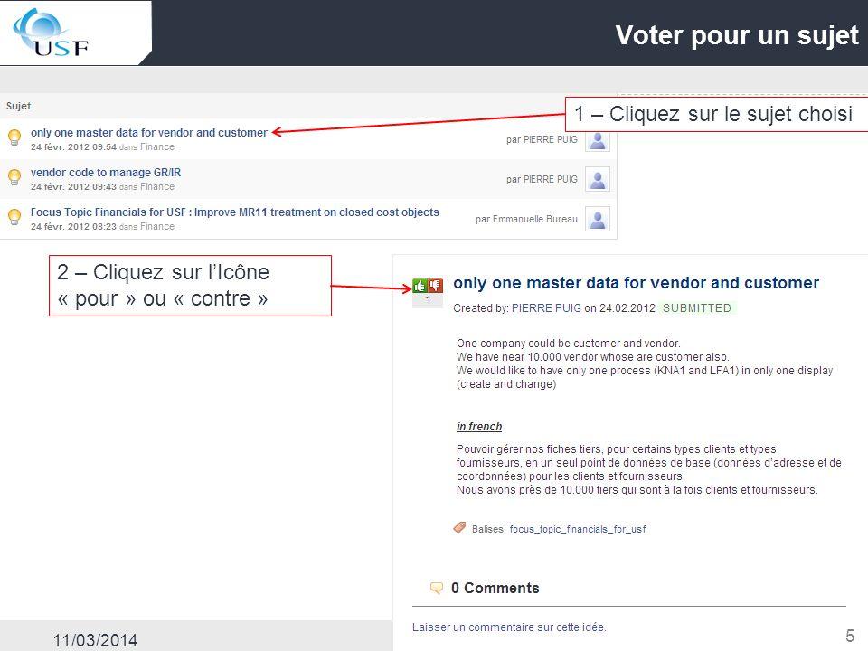 11/03/2014 5 Voter pour un sujet 1 – Cliquez sur le sujet choisi 2 – Cliquez sur lIcône « pour » ou « contre »
