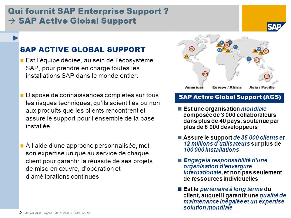 SAP AG 2008, Support SAP / Lionel SCHWIRTZ / 18 Qui fournit SAP Enterprise Support ? SAP Active Global Support SAP ACTIVE GLOBAL SUPPORT Est léquipe d
