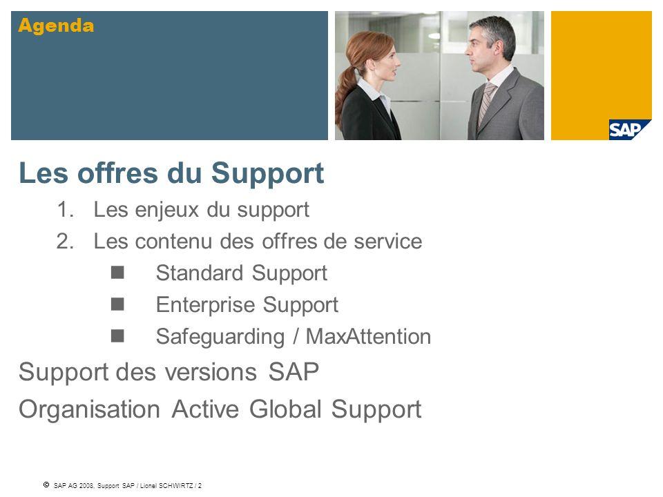 SAP AG 2008, Support SAP / Lionel SCHWIRTZ / 2 Les offres du Support 1.Les enjeux du support 2.Les contenu des offres de service Standard Support Ente