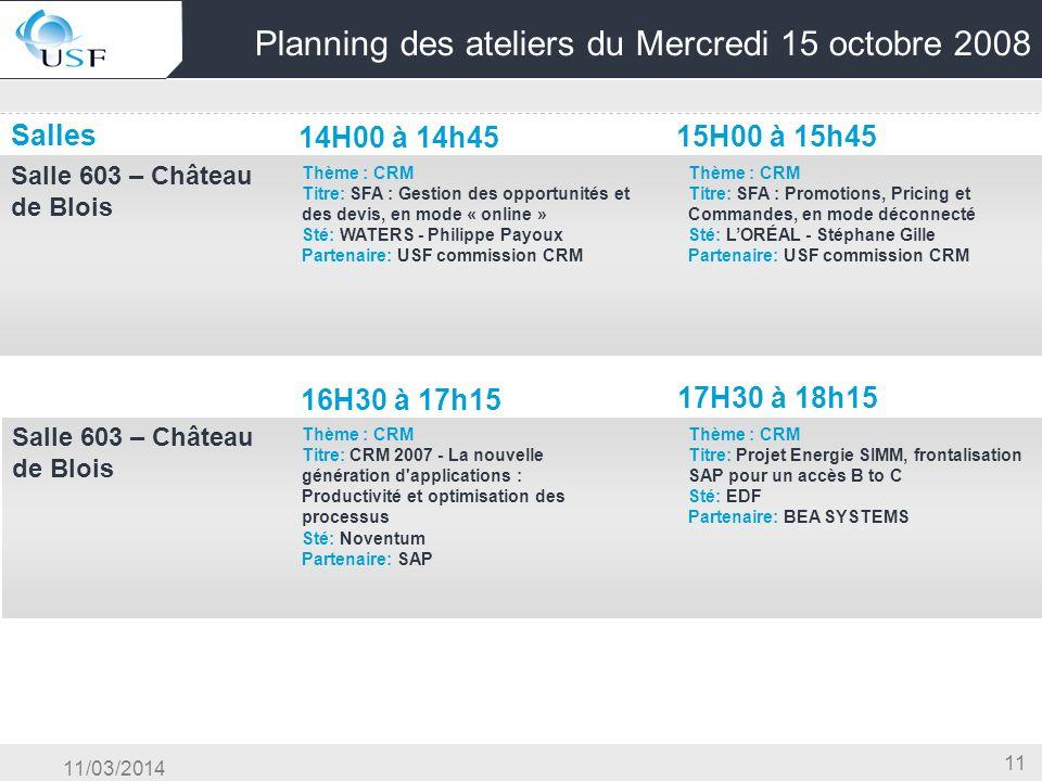 11/03/2014 11 Planning des ateliers du Mercredi 15 octobre 2008 Salles 14H00 à 14h45 15H00 à 15h45 Salle 603 – Château de Blois OG & Conduite du Chang