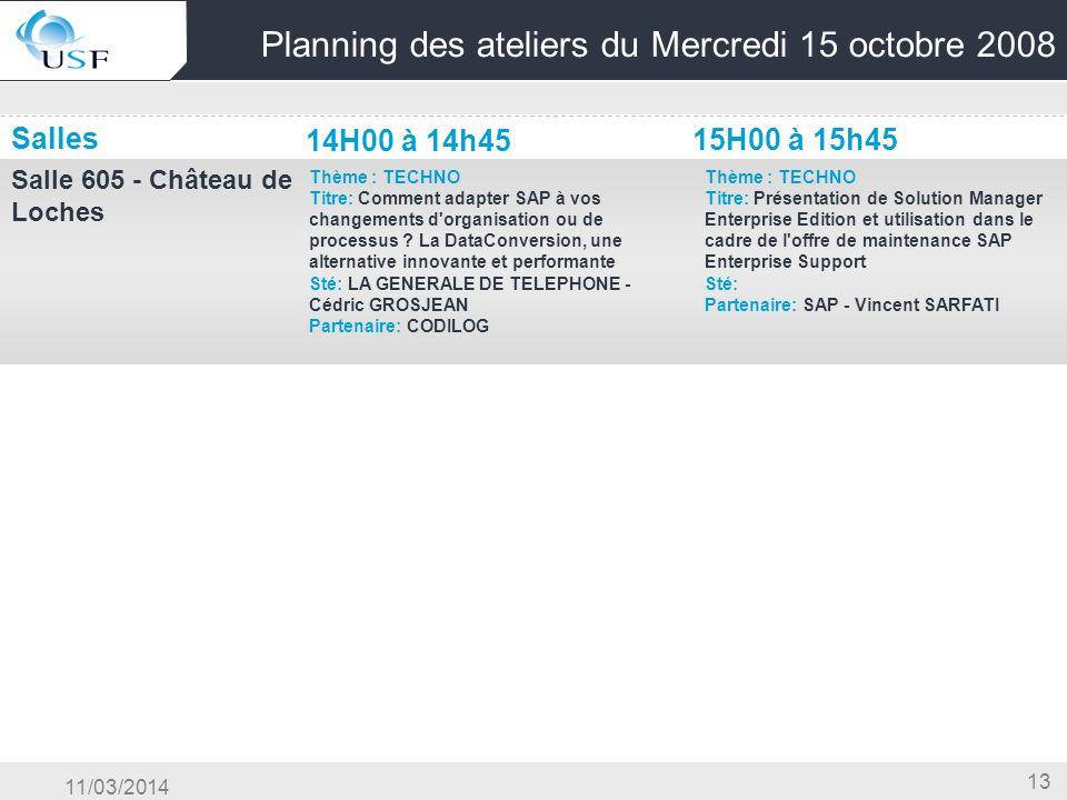 11/03/2014 13 Planning des ateliers du Mercredi 15 octobre 2008 Salles 14H00 à 14h45 15H00 à 15h45 Salle 605 - Château de Loches Thème : TECHNO Titre: