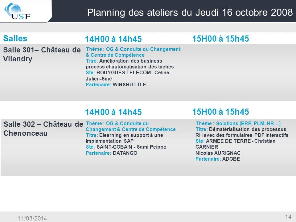 11/03/2014 14 Planning des ateliers du Jeudi 16 octobre 2008 Salles 14H00 à 14h45 15H00 à 15h45 Salle 301– Château de Vilandry OG & Conduite du Change