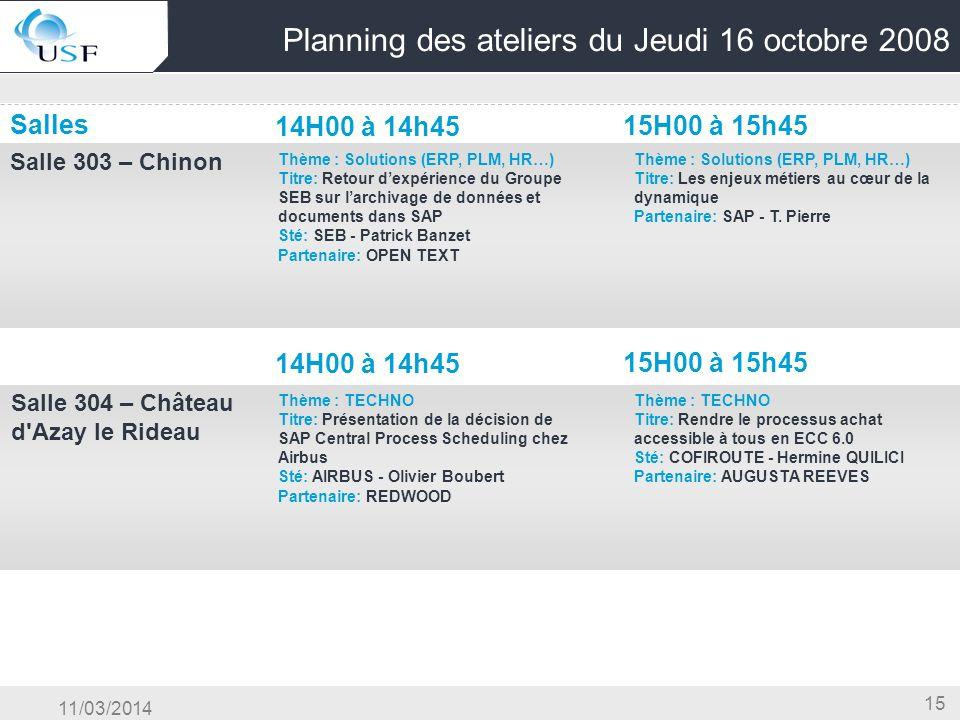 11/03/2014 15 Planning des ateliers du Jeudi 16 octobre 2008 Salles 14H00 à 14h45 15H00 à 15h45 Salle 303 – Chinon OG & Conduite du Changement & Centr