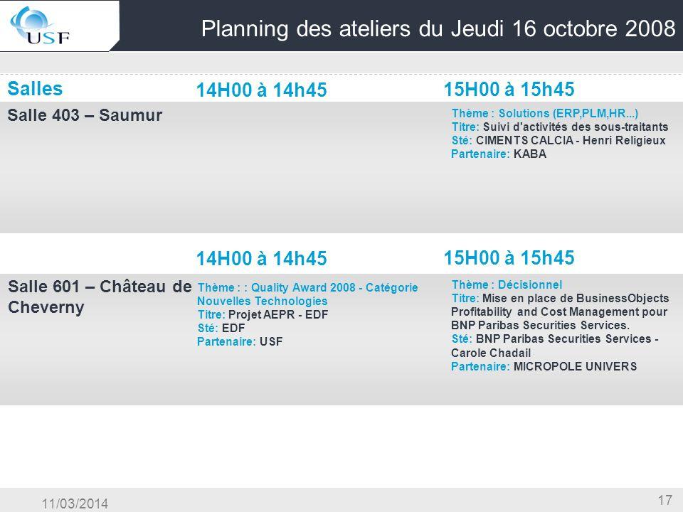 11/03/2014 17 Planning des ateliers du Jeudi 16 octobre 2008 Salles 14H00 à 14h45 15H00 à 15h45 Salle 403 – Saumur OG & Conduite du Changement & Centr