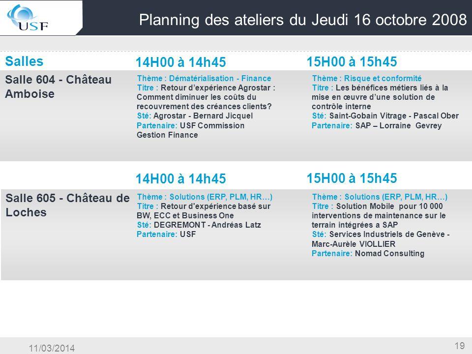 11/03/2014 19 Planning des ateliers du Jeudi 16 octobre 2008 Salles 14H00 à 14h45 15H00 à 15h45 Salle 604 - Château Amboise OG & Conduite du Changemen