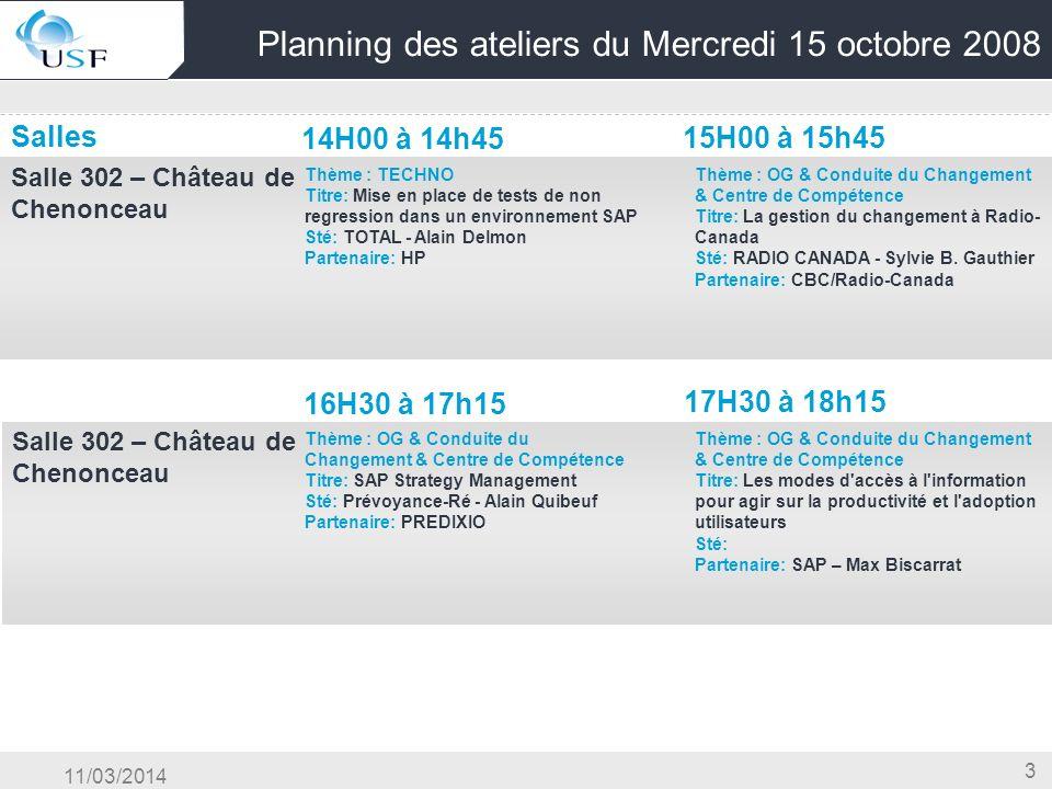 11/03/2014 3 Planning des ateliers du Mercredi 15 octobre 2008 Salles 14H00 à 14h45 15H00 à 15h45 Salle 302 – Château de Chenonceau OG & Conduite du C
