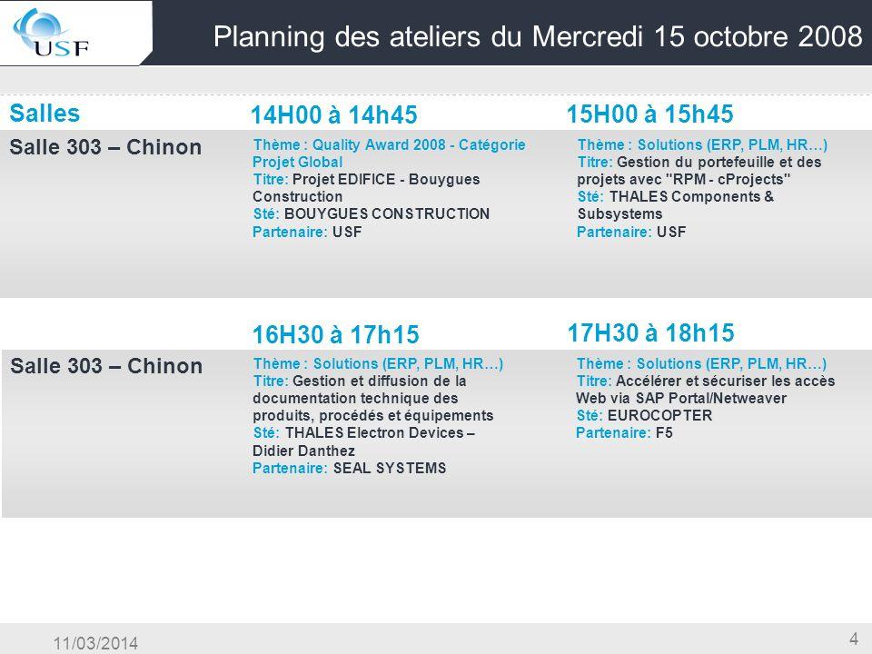 11/03/2014 4 Planning des ateliers du Mercredi 15 octobre 2008 Salles 14H00 à 14h45 15H00 à 15h45 Salle 303 – Chinon OG & Conduite du Changement & Cen