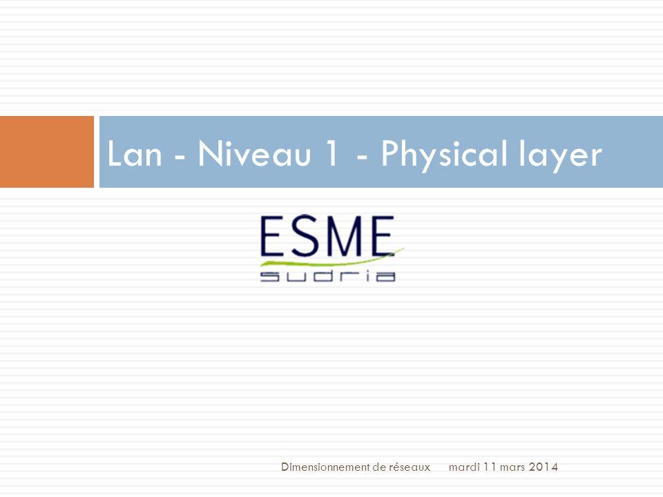 /70 Lan - Niveau 1 - Médiums Cu + prix + robustesse - débit Fo + débit + perturbations - prix - robustesse mardi 11 mars 2014 3 Dimensionnement de réseaux