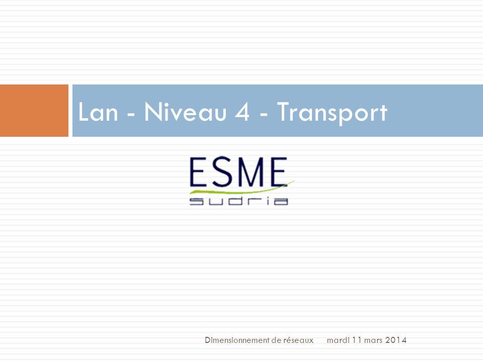 /70 Niveau 4 : Transport mardi 11 mars 2014Dimensionnement de réseaux 40 Garantie labsence de corruption, pertes, réordonnancement, duplication.