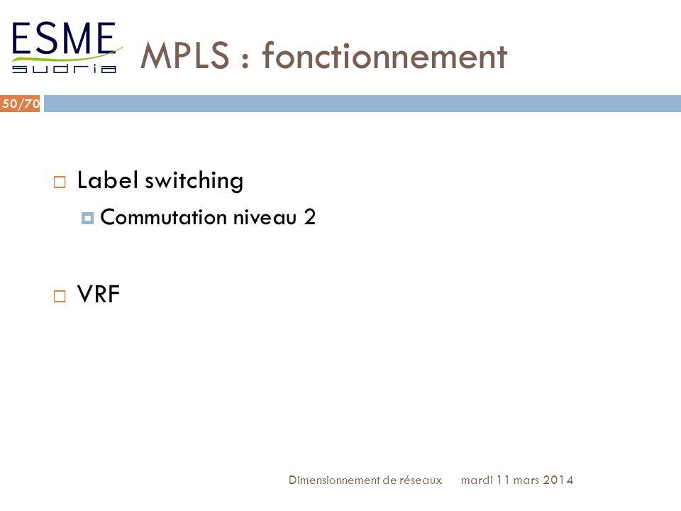 /70 MPLS : label switching mardi 11 mars 2014Dimensionnement de réseaux 51