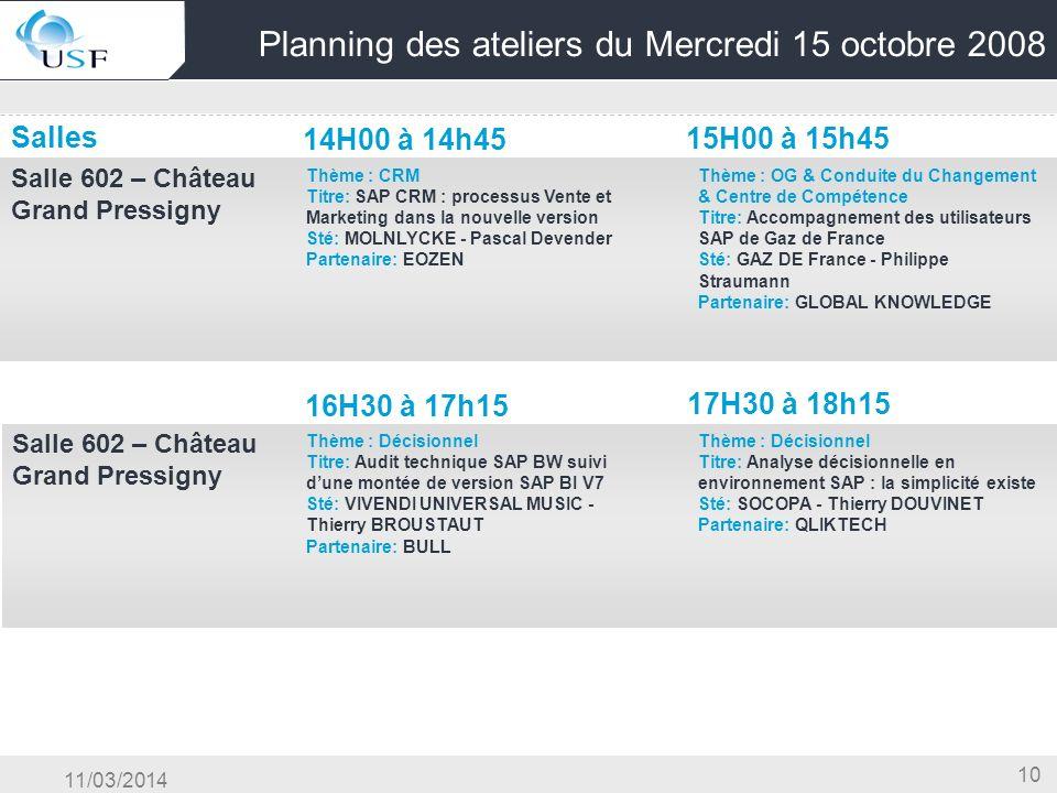 11/03/2014 10 Planning des ateliers du Mercredi 15 octobre 2008 Salles 14H00 à 14h45 15H00 à 15h45 Salle 602 – Château Grand Pressigny OG & Conduite d