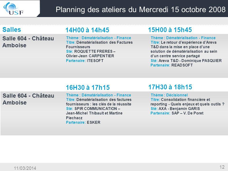 11/03/2014 12 Planning des ateliers du Mercredi 15 octobre 2008 Salles 14H00 à 14h45 15H00 à 15h45 Salle 604 - Château Amboise OG & Conduite du Change