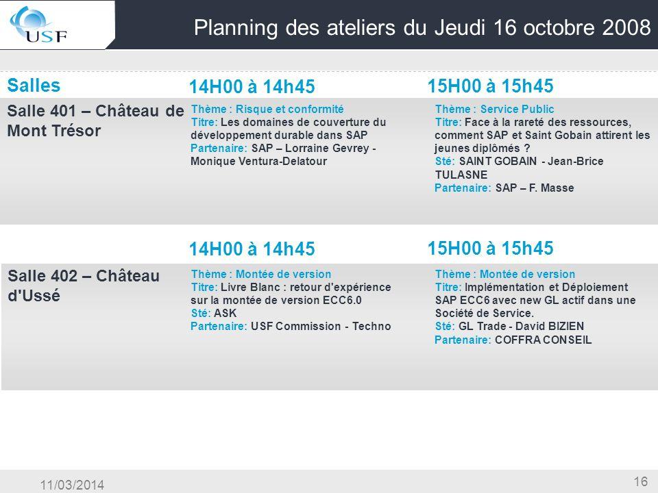 11/03/2014 16 Planning des ateliers du Jeudi 16 octobre 2008 Salles 14H00 à 14h45 15H00 à 15h45 Salle 401 – Château de Mont Trésor OG & Conduite du Ch