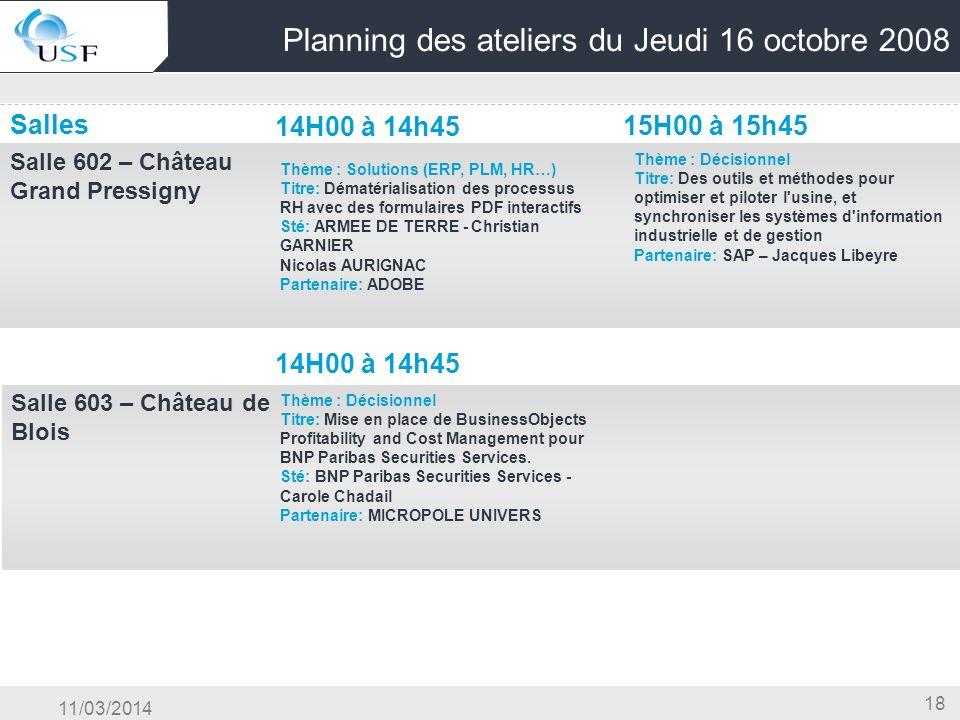 11/03/2014 18 Planning des ateliers du Jeudi 16 octobre 2008 Salles 14H00 à 14h45 15H00 à 15h45 Salle 602 – Château Grand Pressigny OG & Conduite du C