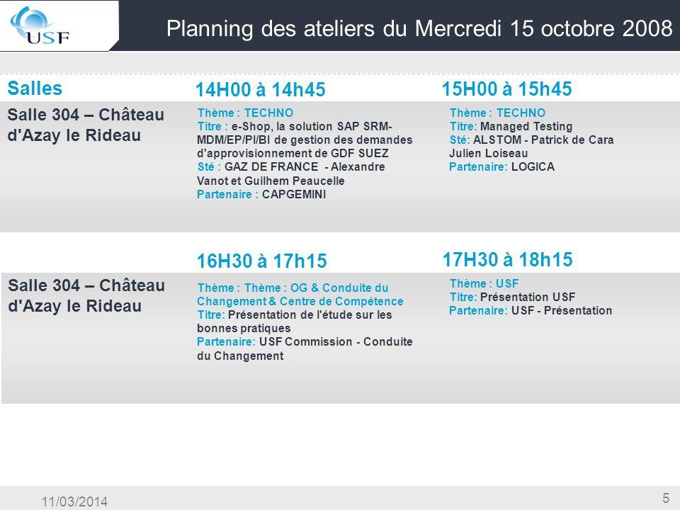 11/03/2014 5 Planning des ateliers du Mercredi 15 octobre 2008 Salles 14H00 à 14h45 15H00 à 15h45 Salle 304 – Château d'Azay le Rideau OG & Conduite d
