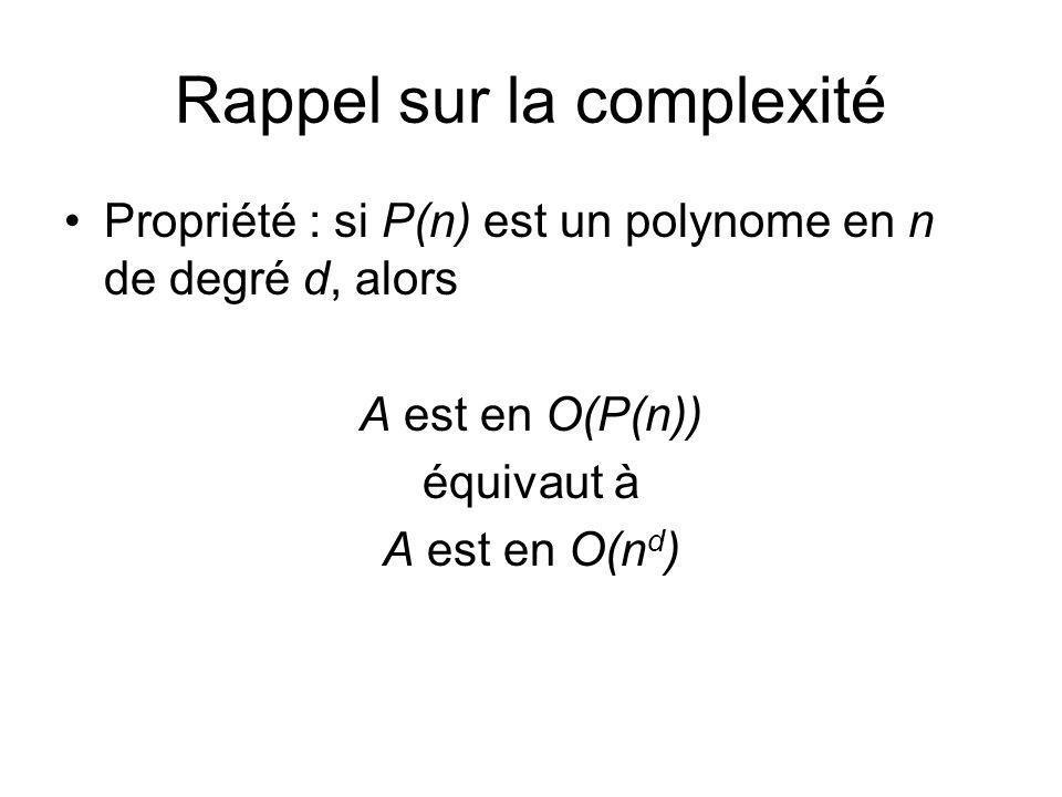 Rappel sur la complexité Propriété : si P(n) est un polynome en n de degré d, alors A est en O(P(n)) équivaut à A est en O(n d )