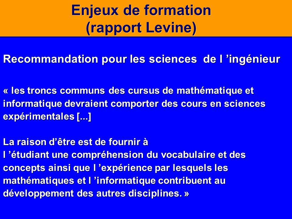 Enjeux de formation (rapport Levine) Recommandation pour les sciences de l ingénieur « les troncs communs des cursus de mathématique et informatique d