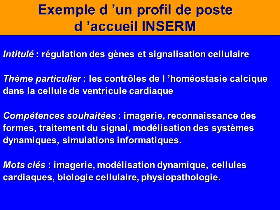 Exemple d un profil de poste d accueil INSERM Intitulé : régulation des gènes et signalisation cellulaire Thème particulier : les contrôles de l homéo